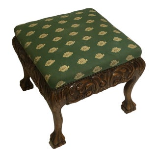 Antique Footstool in Carved Walnut For Sale