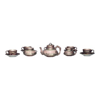 English Victorian Beige Porcelain and Gilt 13 Piece Tea Set For Sale