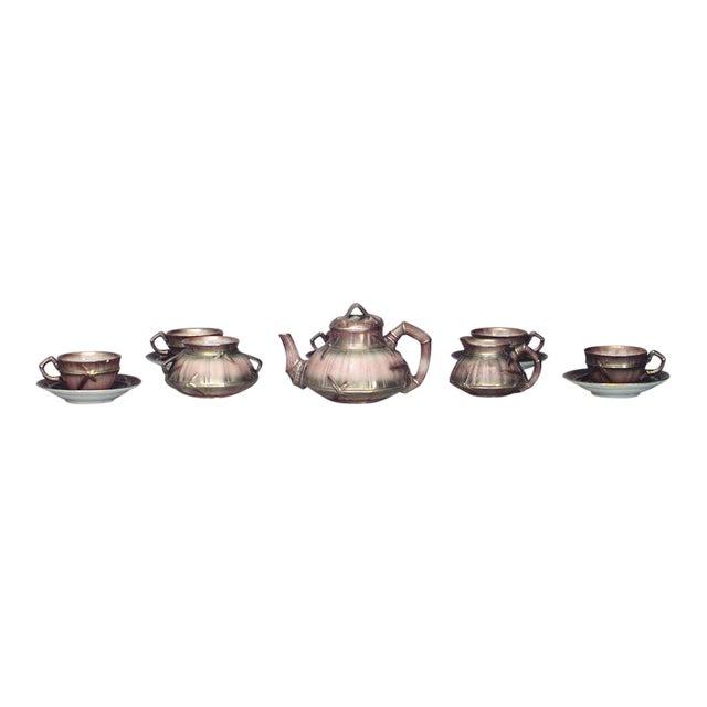 English Victorian Beige Porcelain and Gilt 13 Piece Tea Set For Sale