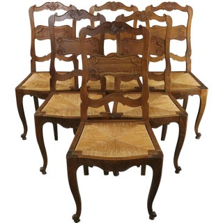 Dining Chairs French Country Farmhouse Oak Rattan - Set of 6 For Sale