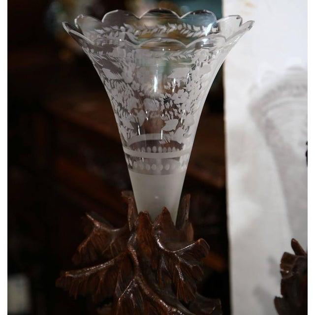 Carved Walnut Black Forest Clock & Matching Vases - Set of 3 For Sale - Image 10 of 10