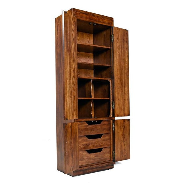 Asian Campaign Style Henredon Pecan Double Armoire With Brass Pulls For Sale - Image 3 of 10