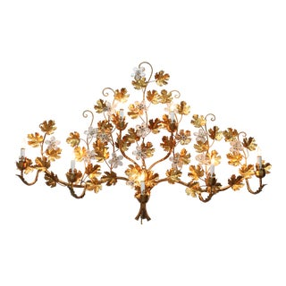 Vintage Hollywood Regency Style Floral Wall Lamp For Sale