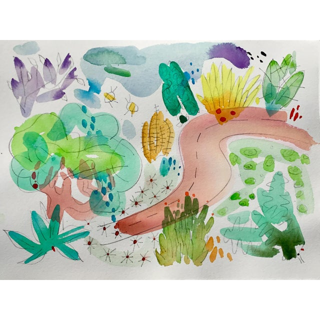 """Abstract English Garden, Set of Four Original Watercolor Paintings 11x15"""" Each For Sale - Image 3 of 6"""