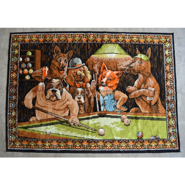 Vintage - Dogs Playing Pool - Wall Tapestry Wall Rug - 49ʺ X 70ʺ For Sale - Image 10 of 10