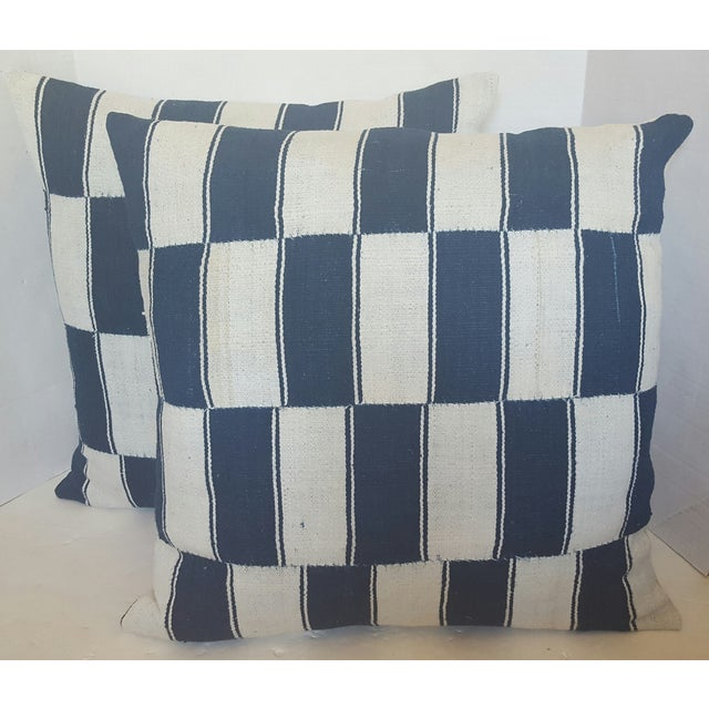 Checkerboard African Blue And White Pillows - Pair - Image 2 of 4