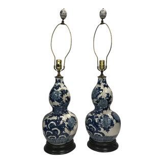 Lj Japan Blue White Porcelain Table Lamps- A Pair For Sale