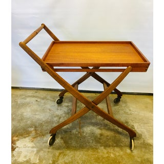 Vintage Danish Teak Bar/Serving Cart Folding Tray Table Mid Century Modern Preview