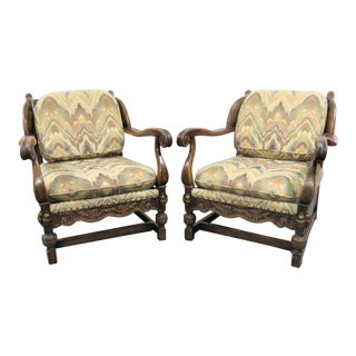 Jacobean Carved Oak Wing Back Club Chairs - a Pair For Sale