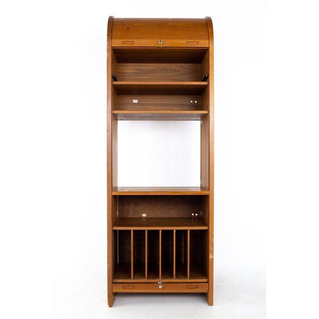 Mid 20th Century Mid Century Teak Tambour Door Upright Storage Credenza For Sale - Image 5 of 13