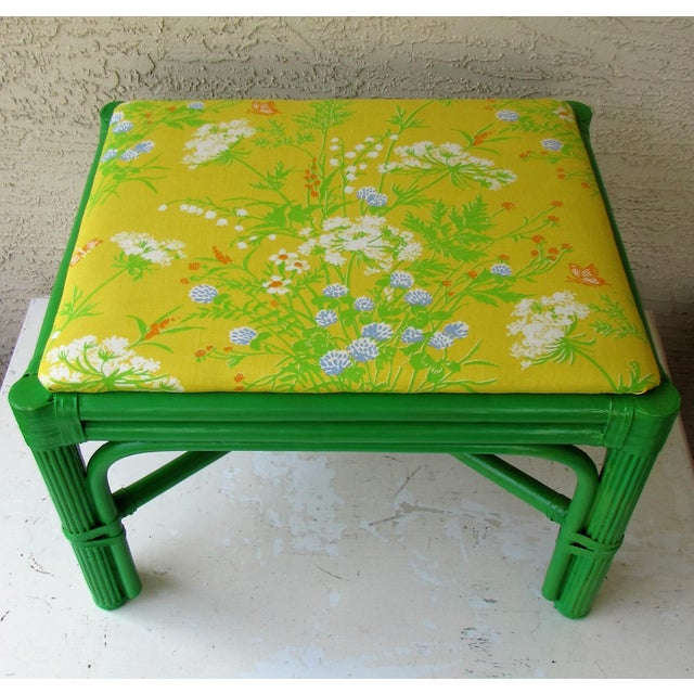 Mid-Century Green Rattan Footstool - Image 4 of 8