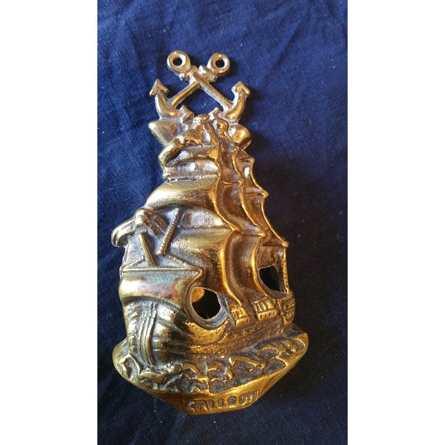 Boho Chic 1930'S Brass Galleon Door Knocker For Sale - Image 3 of 4