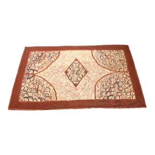 1930s Hand-Hooked Clam Shell Pattern Rug from New England For Sale
