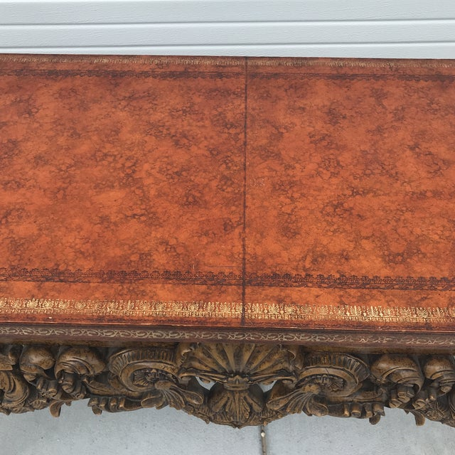 Maitland Smith Leather Top Console Table For Sale - Image 10 of 13