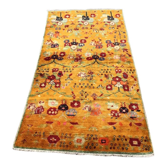 Orange Vintage Hand Knotted Turkish Rug For Sale