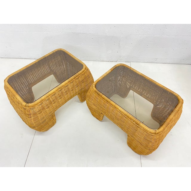 Mid-Century Modern Hand Made Sculptural Wicker Rattan Side Tables - a Pair For Sale - Image 10 of 13