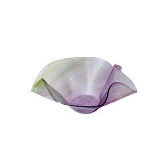 1980s Organic Modern Green and Purple Textured Iridized Glass Freeform Bowl
