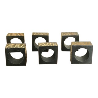 Square Wildlife Zebra and Cheetah Carved Pattern Wood Napkin Rings - Set of 6 For Sale