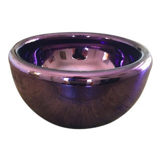 Rare Large Purple Bowl of Mirrored Blown Glass, Mexico, Circa 1970