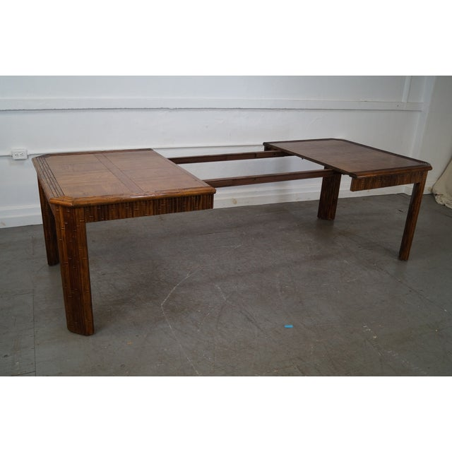 Faux Bamboo Parquet Top Extension Dining Table For Sale - Image 4 of 10