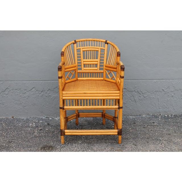 Asian Vintage Palm Beach Regency Rattan Armchair For Sale - Image 3 of 11