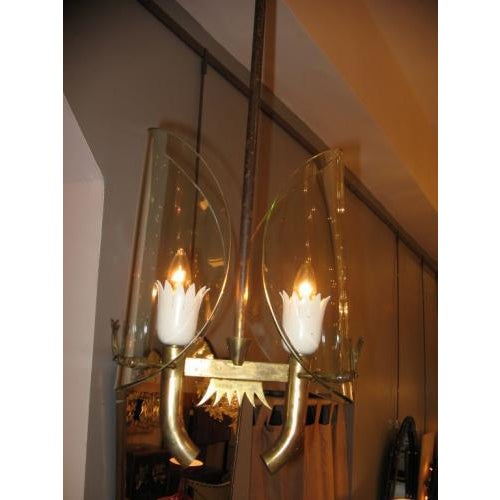 Art Deco Fontana Arte Two Light Chandelier by P. Chiesa For Sale - Image 3 of 5