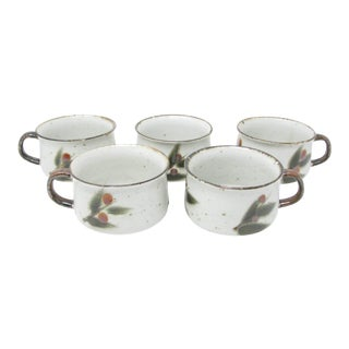 Vintage Otagiri Bittersweet Stoneware Soup Mugs With Berry Leaves Design - Set of 5 For Sale