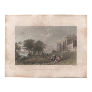 Mid 19th Century Antique Bartlett George Washington's Home Mount Vernon Hand Colored Steel Engraving For Sale