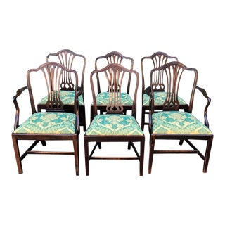 Set of 6 Antique Hepplewhite Mahogany Dining Chairs W Dessin Fournir Cushions For Sale