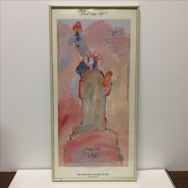 Signed print of the Statue of Liberty painted by Psychedelic artist Peter Max at the bequest of Ronald and Nancy Reagan in...