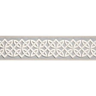 Sample, Scalamandre Celtic Embroidered Tape, Mineral Fabric For Sale