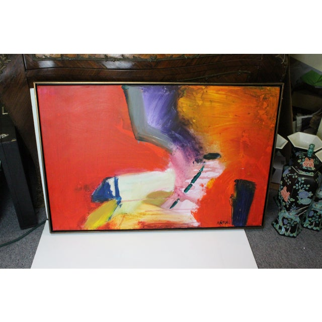 Abstract Red Caldwell Abstract Scene Oil Painting For Sale - Image 3 of 8