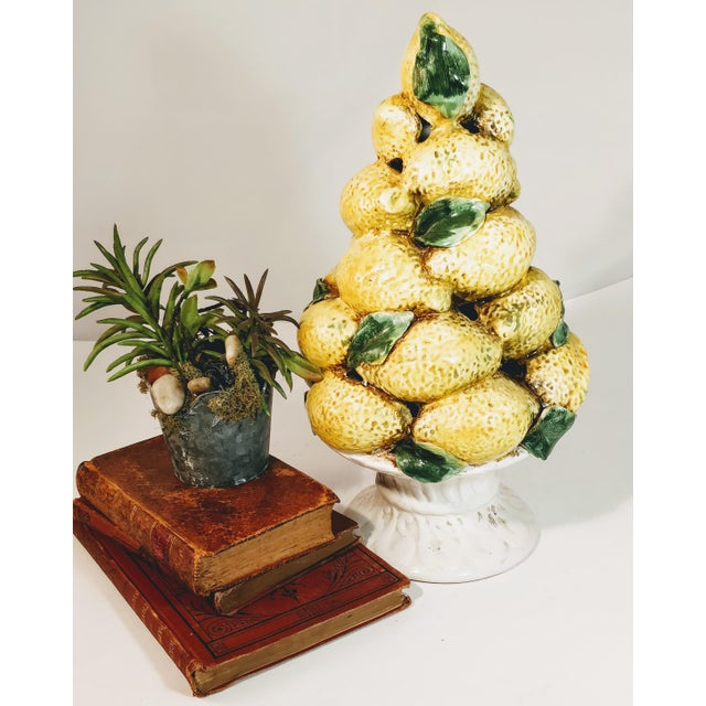 Vintage Italian Lemon Topiary Tree Centerpiece Fruit Ceramic Urn Pottery For Sale - Image 6 of 13