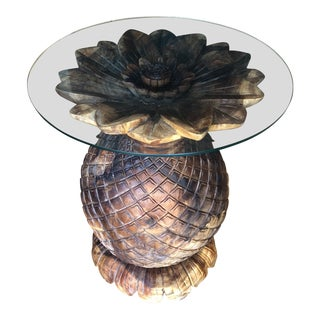 Wooden Pineapple Pedestal Accent Entry Coastal Table For Sale
