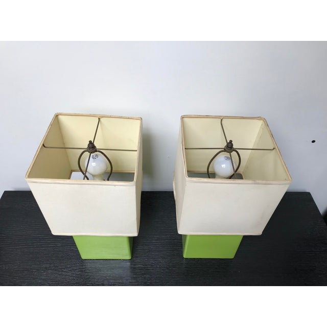Mid-Century Modern Mid Century Chartreuse Green Glaze Ceramic Table Lamps - a Pair For Sale - Image 3 of 13