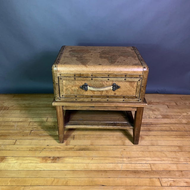 Late 20th Century Leather Travel Suitcase Storage Box on Frame, 20th Century For Sale - Image 5 of 12