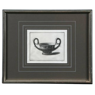 Framed Etching, Neoclassical Vessel, 19th Century For Sale