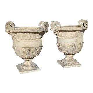 A Pair of Cast Stone 'Versailles' Urns For Sale