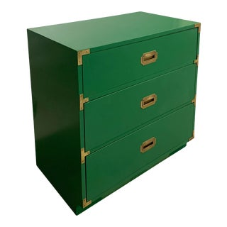 Vintage Campaign Chest of Drawers in Green For Sale