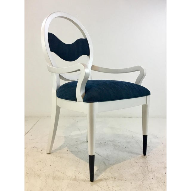 2010s Caracole Modern Prototype Blue and White Wave Dining Chairs Set of Ten For Sale - Image 5 of 9