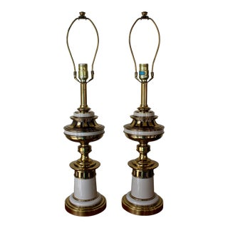 Stiffel Brass and Enameled Table Lamps - a Pair For Sale