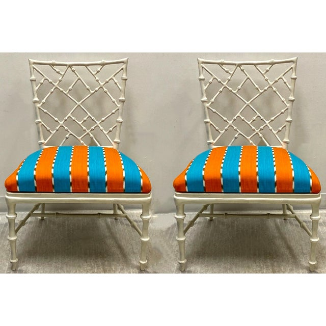 1960s Pair of Cast Aluminum Faux Bamboo Chairs by Kessler for Phyllis Morris For Sale - Image 5 of 6