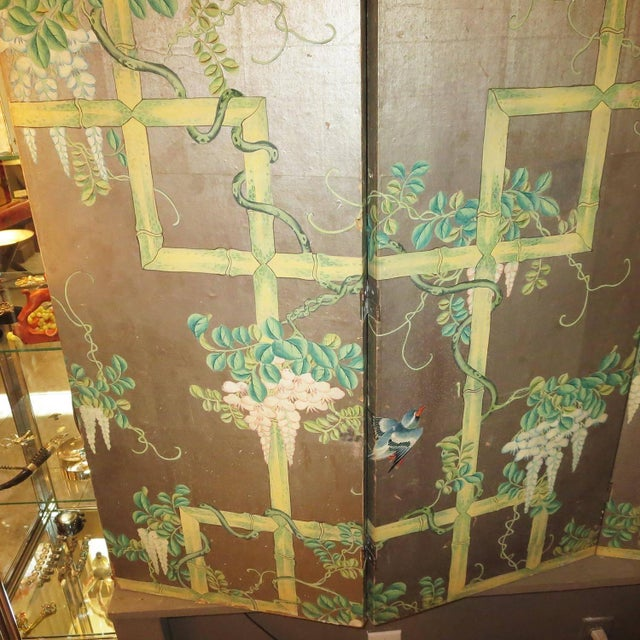 Asian 19th Century Four-Panel Painted Screen of Birds and Bamboo For Sale - Image 3 of 9