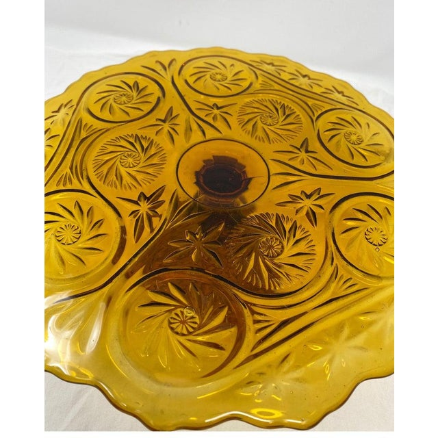 French Amber Glass Patisserie Stand For Sale - Image 3 of 7
