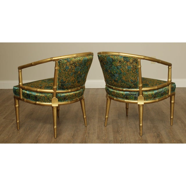 Hollywood Regency Faux Bamboo Mid Century Gilt Wood Barrel Back Armchairs - a Pair For Sale - Image 4 of 13