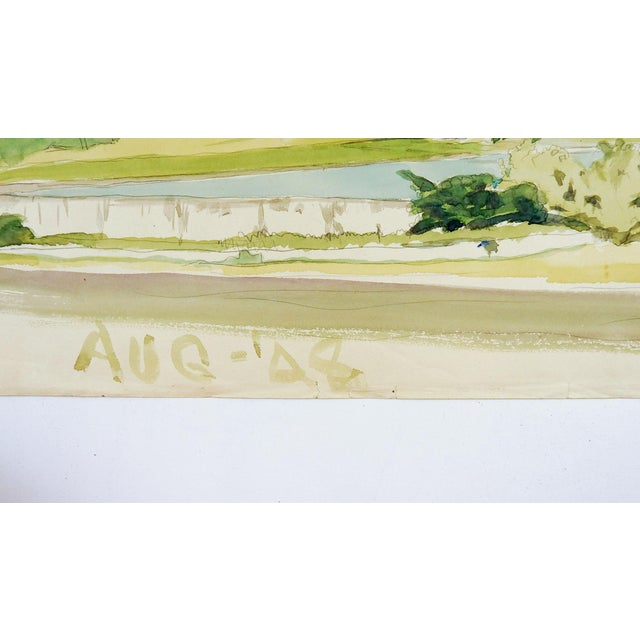 Watercolor study on paper of the San Jacinto Monument, Houston Texas by Geneva Flores Hart Fell (1906-2008) Texas, dated...