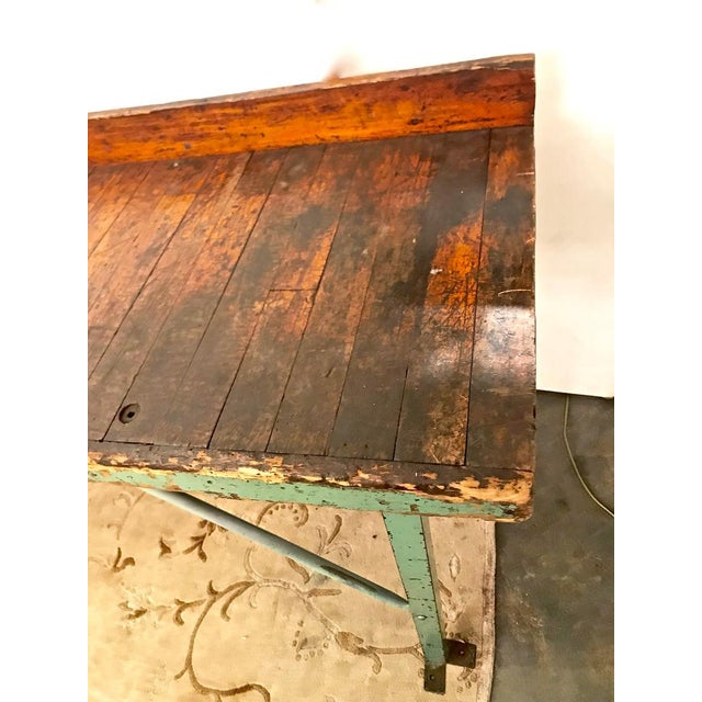 Green 20th Century Industrial Workbench or Console For Sale - Image 8 of 12