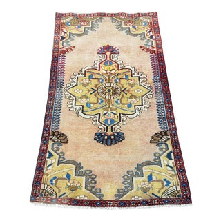 Vintage Distressed Hand-Knotted Oushak Rug-2′5″ × 4′6″ For Sale