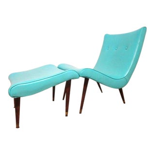 1950s Mid Century Modern Turquoise Scoop Chair and Ottoman - 2 Pieces For Sale