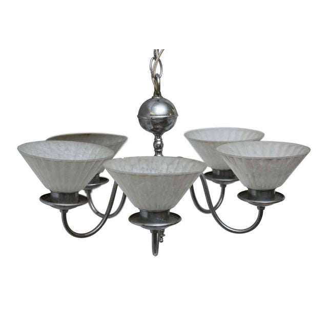 Five Light Chrome Deco Fixture With Glass Shades For Sale - Image 10 of 10